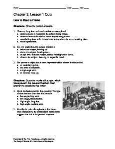 Chapter 3, Lesson 1 Quiz