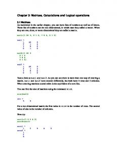 Chapter 3: Matrices, Calculations and Logical operations