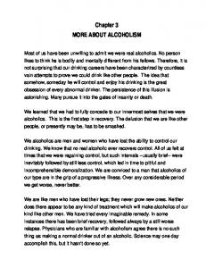 Chapter 3 MORE ABOUT ALCOHOLISM