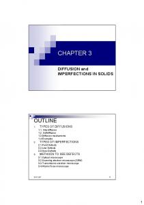 CHAPTER 3 OUTLINE. DIFFUSION and IMPERFECTIONS IN SOLIDS