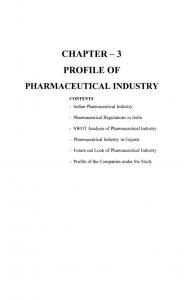 CHAPTER - 3 PROFILE OF PHARMACEUTICAL INDUSTRY