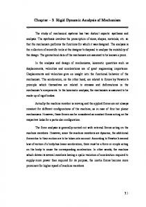 Chapter 3 Rigid Dynamic Analysis of Mechanism