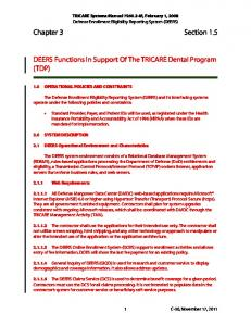Chapter 3 Section 1.5. DEERS Functions In Support Of The TRICARE Dental Program (TDP)