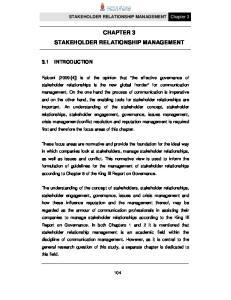 CHAPTER 3 STAKEHOLDER RELATIONSHIP MANAGEMENT