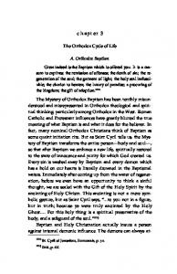 chapter 3 The Orthodox Cycle of Life A. Orthodox Baptism