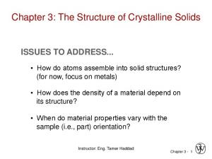 Chapter 3: The Structure of Crystalline Solids