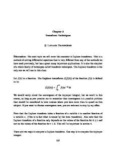 Chapter 3 Transform Techniques. 1 Laplace Transforms