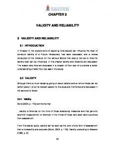 CHAPTER 3 VALIDITY AND RELIABILITY