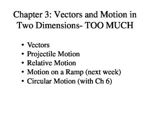 Chapter 3: Vectors and Motion in Two Dimensions- TOO MUCH