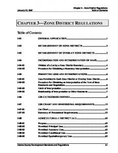 CHAPTER 3 ZONE DISTRICT REGULATIONS