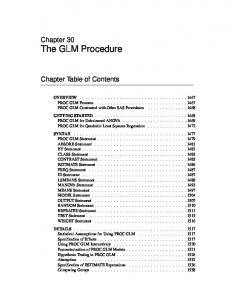 Chapter 30 The GLM Procedure. Chapter Table of Contents