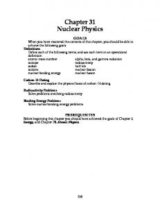 Chapter 31 Nuclear Physics