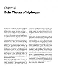 Chapter 35. Bohr Theory of Hydrogen HYDROGEN