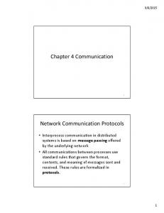 Chapter 4 Communication. Network Communication Protocols