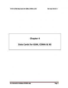 Chapter 4 Data Cards for GSM, CDMA & 3G