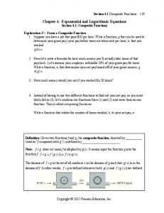 Chapter 4: Exponential and Logarithmic Equations Section 4.1: Composite Functions