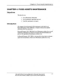 CHAPTER 4: FIXED ASSETS MAINTENANCE