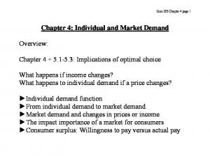 Chapter 4: Individual and Market Demand. Chapter : Implications of optimal choice