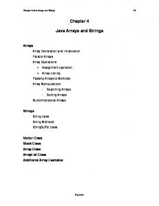 Chapter 4. Java Arrays and Strings