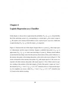 Chapter 4 Logistic Regression as a Classifier