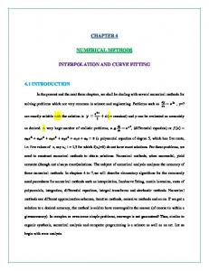 CHAPTER 4 NUMERICAL METHODS INTERPOLATION AND CURVE FITTING