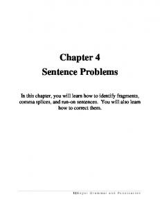 Chapter 4 Sentence Problems
