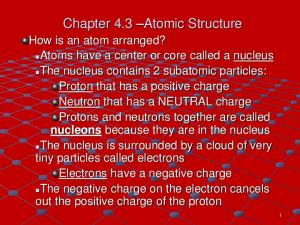 Chapter 4.3 Atomic Structure