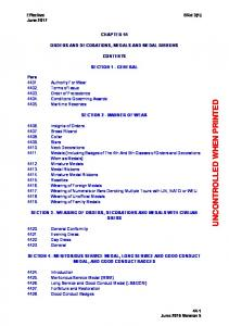 CHAPTER 44 ORDERS AND DECORATIONS, MEDALS AND MEDAL RIBBONS CONTENTS SECTION 1 - GENERAL SECTION 2 - MANNER OF WEAR