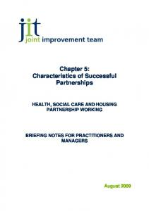 Chapter 5: Characteristics of Successful Partnerships