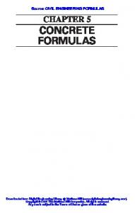 CHAPTER 5 CONCRETE FORMULAS