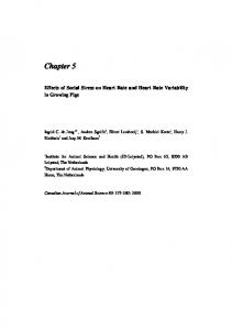Chapter 5. Effects of Social Stress on Heart Rate and Heart Rate Variability in Growing Pigs