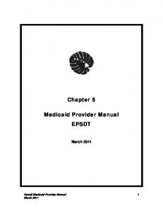 Chapter 5. Medicaid Provider Manual EPSDT. March 2011