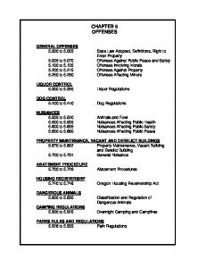 CHAPTER 5 OFFENSES. ABATEMENT PROCEDURE to Abatement Procedures. HOUSING RECEIVERSHIP to Oregon Housing Receivership Act