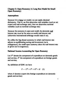 Chapter 5: Open Economy (A Long Run Model for Small Open Economy)