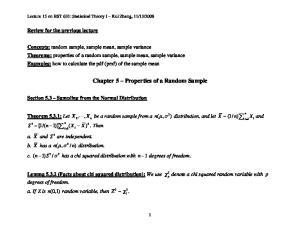 Chapter 5 Properties of a Random Sample