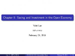 Chapter 5: Saving and Investment in the Open Economy