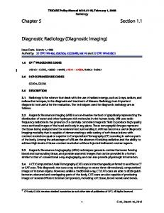 Chapter 5 Section 1.1. Diagnostic Radiology (Diagnostic Imaging)
