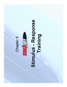 Chapter 5. Stimulus - Response. Training