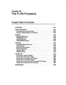 Chapter 50 The PLAN Procedure. Chapter Table of Contents