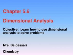 Chapter 5.6 Dimensional Analysis