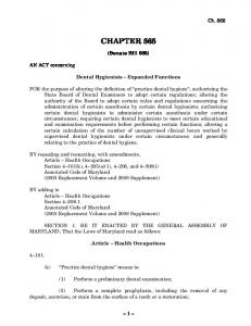 CHAPTER 565. (Senate Bill 602) Dental Hygienists Expanded Functions