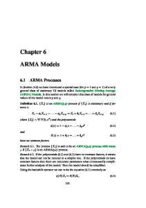 Chapter 6. ARMA Models. 6.1 ARMA Processes