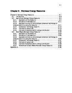Chapter 6 Biomass Energy Resource