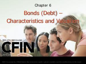 Chapter 6. Bonds (Debt) Characteristics and Valuation