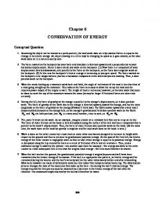 Chapter 6 CONSERVATION OF ENERGY