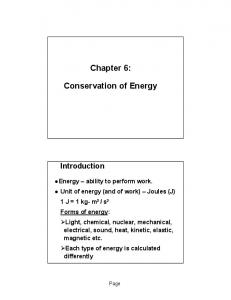 Chapter 6: Conservation of Energy