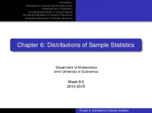 Chapter 6: Distributions of Sample Statistics