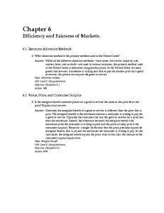 Chapter 6 Efficiency and Fairness of Markets