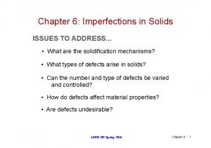 Chapter 6: Imperfections in Solids