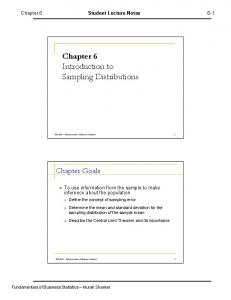 Chapter 6 Introduction to Sampling Distributions